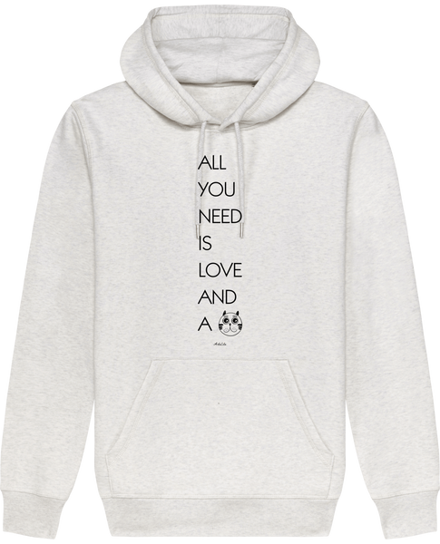Sweat Bio à Capuche Unisex / Hoodie - All you need is love and a Cat - ArteCita Positive Lifestyle Mode Bio et Objets de déco