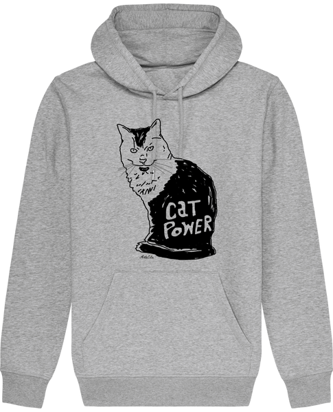 Sweat Bio à Capuche Unisex / Hoodie - Cat Power - ArteCita Positive Lifestyle Mode Bio et Objets de déco