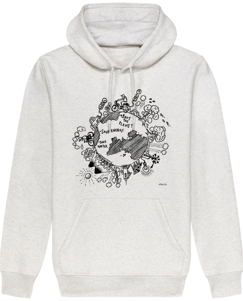 Sweat Bio à Capuche Unisex / Hoodie - Save the planet - ArteCita Positive Lifestyle Mode Bio et Objets de déco