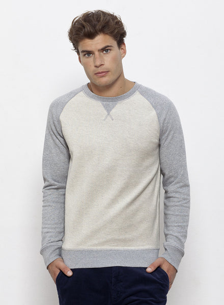 Sweat Bio Bicolore / Organic Sweater Bicolour - Light Heather grey - ArteCita Positive Lifestyle Mode Bio et Objets de déco