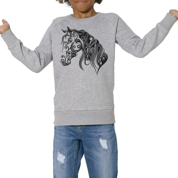 Sweat Bio Imprimé Enfants, Organic Graphic Sweater Kids - Cheval stylisé - ArteCita Positive Lifestyle Mode Bio et Objets de déco