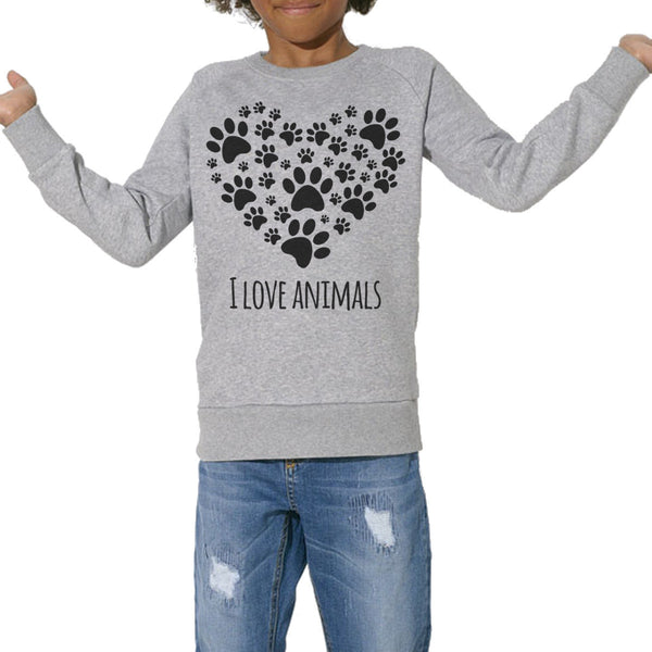 Sweat Bio Imprimé Enfants, Organic Graphic Sweater Kids - I love animals - ArteCita Positive Lifestyle Mode Bio et Objets de déco