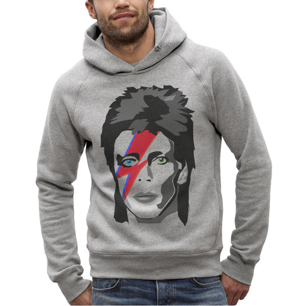 Sweat Imprimé Bio à Capuche Homme / Organic Graphic Hoodie Men - David Bowie Major Tom - ArteCita Positive Lifestyle Mode Bio et Objets de déco