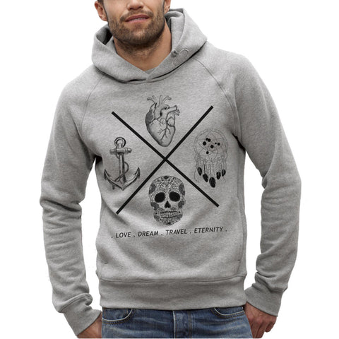 Sweat Imprimé Bio à Capuche Homme / Organic Graphic Hoodie Men - Love Dream Travel Eternity - ArteCita Positive Lifestyle Mode Bio et Objets de déco