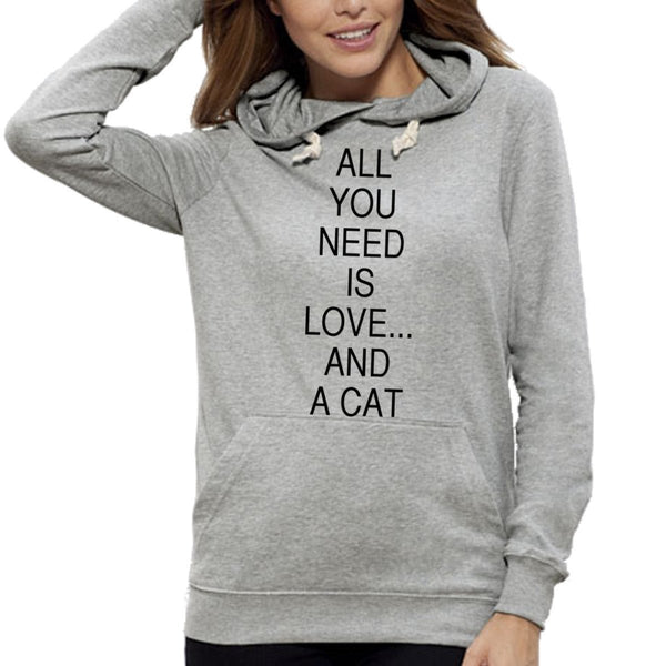 Sweat Imprimé Bio à Capuche / Organic Graphic Hoodie - All you need is love and a cat - ArteCita Positive Lifestyle Mode Bio et Objets de déco
