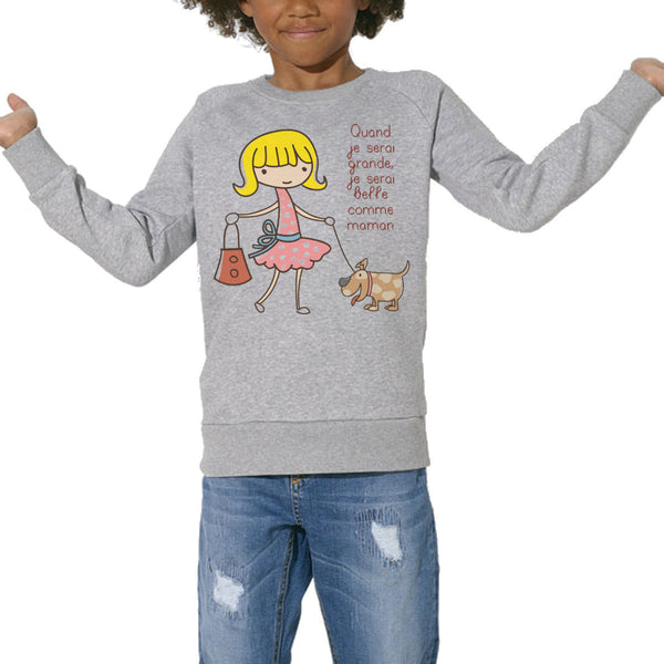 Sweat Imprimé Bio Enfants, Organic Graphic Sweater Kids - Belle comme maman blonde - ArteCita Positive Lifestyle Mode Bio et Objets de déco