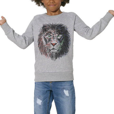 Sweat Imprimé Bio Enfants, Organic Graphic Sweater Kids - Cecil the lion - ArteCita Positive Lifestyle Mode Bio et Objets de déco