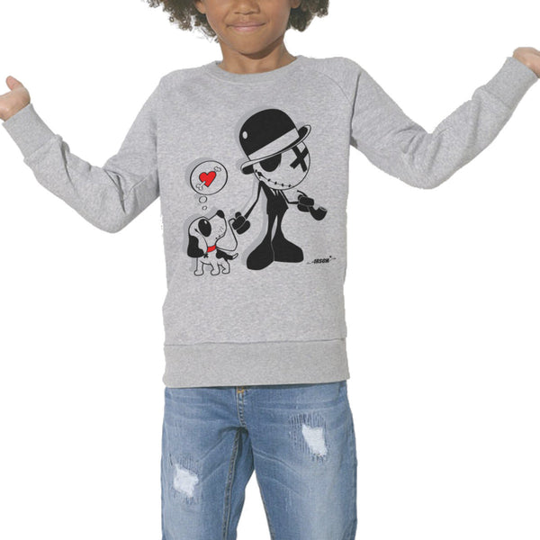 Sweat Imprimé Bio Enfants, Organic Graphic Sweater Kids - Dog addict - ArteCita Positive Lifestyle Mode Bio et Objets de déco