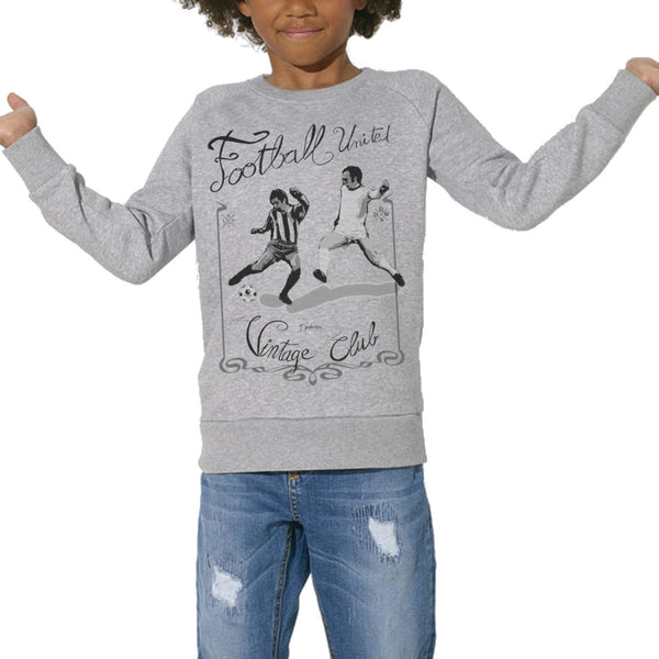 Sweat Imprimé Bio Enfants, Organic Graphic Sweater Kids - Football vintage - ArteCita Positive Lifestyle Mode Bio et Objets de déco