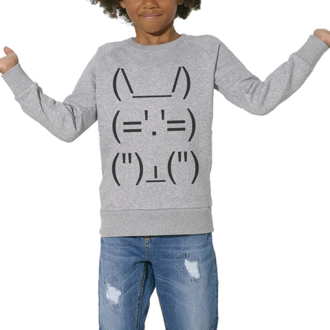 Sweat Imprimé Bio Enfants, Organic Graphic Sweater Kids - Lapin Geek - ArteCita Positive Lifestyle Mode Bio et Objets de déco