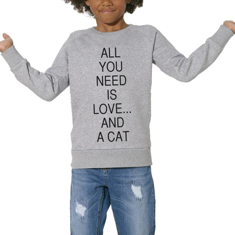 Sweat Imprimé Bio Enfants, Organic Graphic Sweater Kids - Love & a cat - ArteCita Positive Lifestyle Mode Bio et Objets de déco