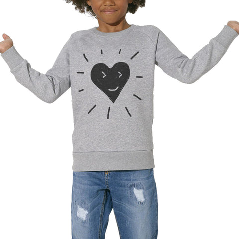 Sweat Imprimé Bio Enfants, Organic Graphic Sweater Kids - Love Rise & Shine - ArteCita Positive Lifestyle Mode Bio et Objets de déco