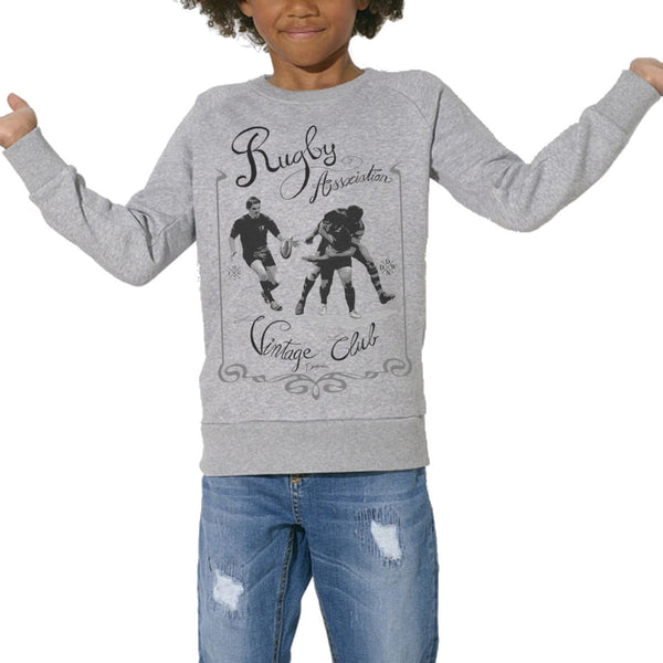 Sweat Imprimé Bio Enfants, Organic Graphic Sweater Kids - Rugby Vintage - ArteCita Positive Lifestyle Mode Bio et Objets de déco
