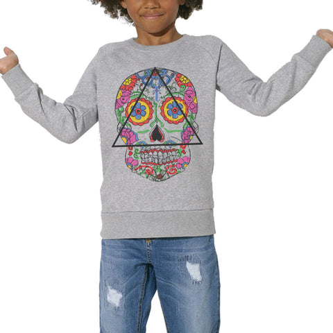 Sweat Imprimé Bio Enfants, Organic Graphic Sweater Kids - Santa Muerte - ArteCita Positive Lifestyle Mode Bio et Objets de déco