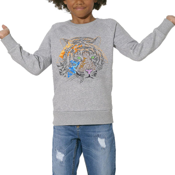 Sweat Imprimé Bio Enfants, Organic Graphic Sweater Kids - Tigre - ArteCita Positive Lifestyle Mode Bio et Objets de déco