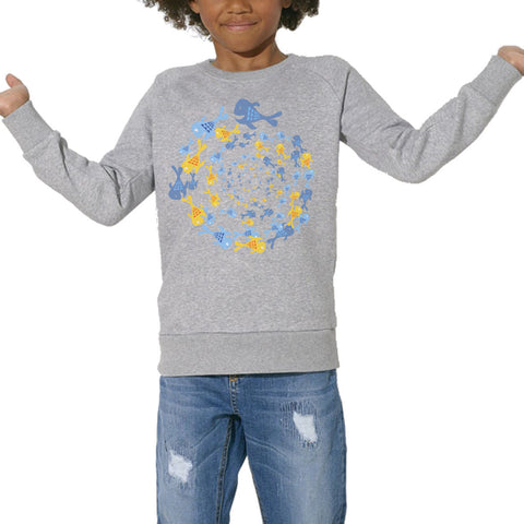 Sweat Imprimé Bio Enfants, Organic Graphic Sweater Kids - Tourbillon aquatique - ArteCita Positive Lifestyle Mode Bio et Objets de déco