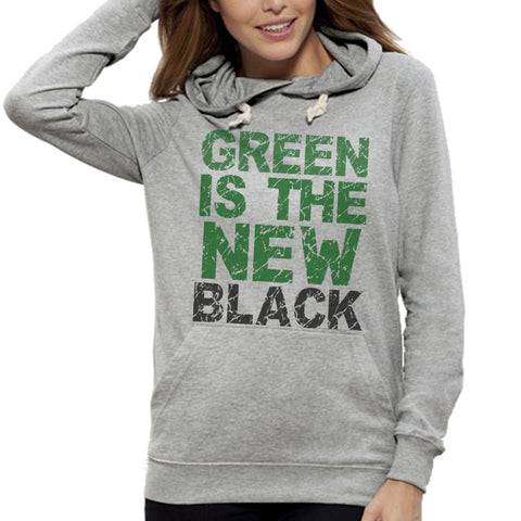 Sweat Imprimé Bio Femme à Capuche / Organic Graphic Hoodie Women - Green is the new black - ArteCita Positive Lifestyle Mode Bio et Objets de déco