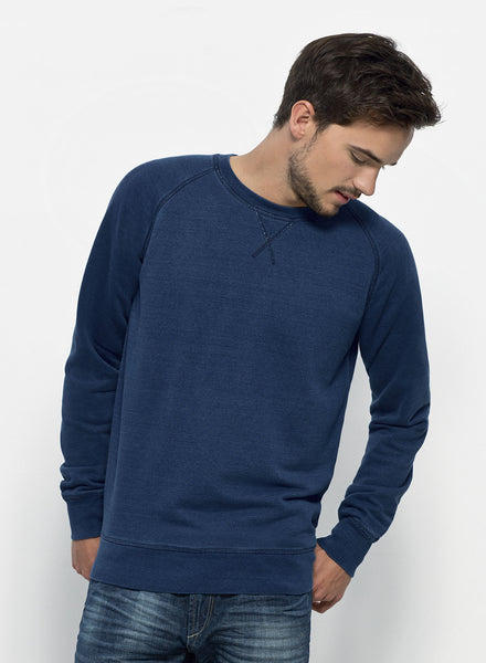 Sweat-shirt Bio Homme / Organic Sweater Men - Strol Denim Mid washed indigo - ArteCita Positive Lifestyle Mode Bio et Objets de déco