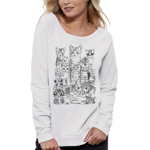 Sweat-shirt Imprimé Bio Blanc Femme / Organic Graphic Sweater White Women - Chatons - ArteCita Positive Lifestyle Mode Bio et Objets de déco