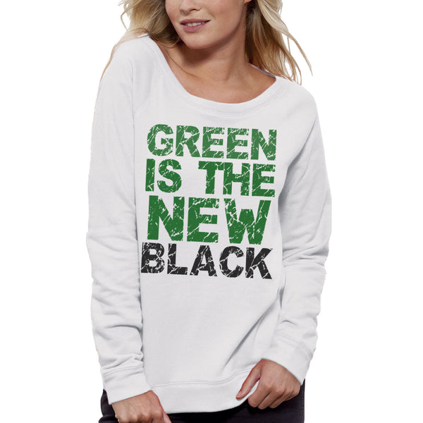 Sweat-shirt Imprimé Bio Blanc / Organic Graphic Sweater White - Green is the new black - ArteCita Positive Lifestyle Mode Bio et Objets de déco