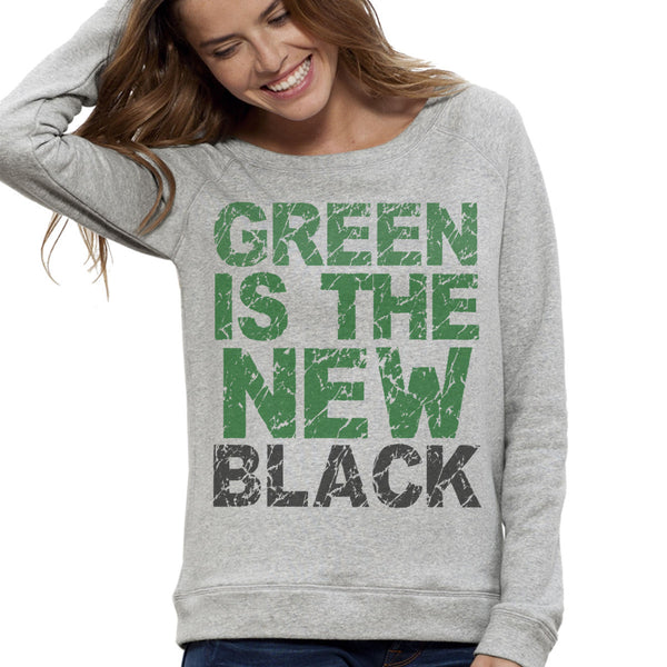 Sweat-shirt Imprimé Bio Gris Femme / Organic Graphic Sweater Grey Women - Green is the new black - ArteCita Positive Lifestyle Mode Bio et Objets de déco