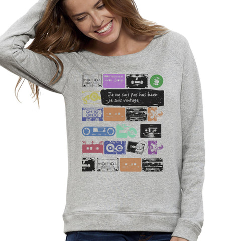Sweat-shirt Imprimé Bio Gris / Organic Graphic Sweater Grey - Vintage, not has been - ArteCita Positive Lifestyle Mode Bio et Objets de déco