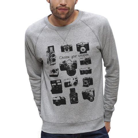 Sweat-shirt Imprimé Bio Homme / Organic Graphic Sweater Men - Appareils photo Vintage - ArteCita Positive Lifestyle Mode Bio et Objets de déco