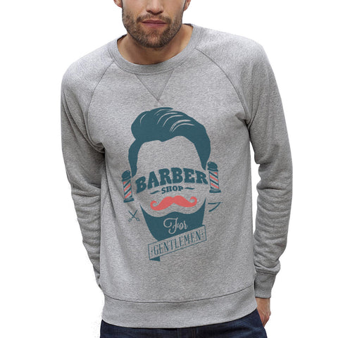 Sweat-shirt Imprimé Bio Homme / Organic Graphic Sweater Men - Barber shop - ArteCita Positive Lifestyle Mode Bio et Objets de déco