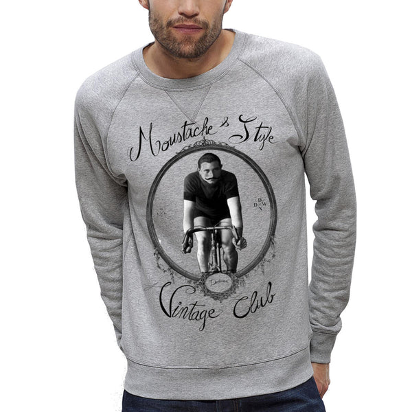 Sweat-shirt Imprimé Bio Homme / Organic Graphic Sweater Men - Bicyclette & Moustache Vintage - ArteCita Positive Lifestyle Mode Bio et Objets de déco