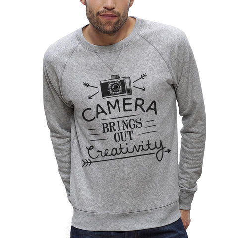 Sweat-shirt Imprimé Bio Homme / Organic Graphic Sweater Men - Camera & creativity - ArteCita Positive Lifestyle Mode Bio et Objets de déco
