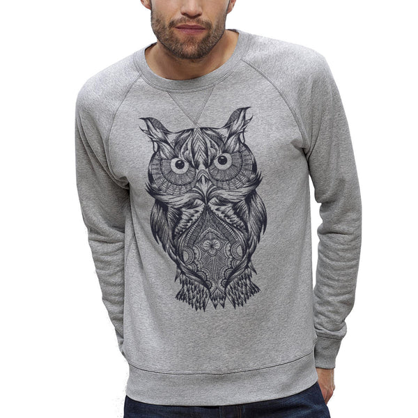 Sweat-shirt Imprimé Bio Homme / Organic Graphic Sweater Men - Chouette / Owl - ArteCita Positive Lifestyle Mode Bio et Objets de déco