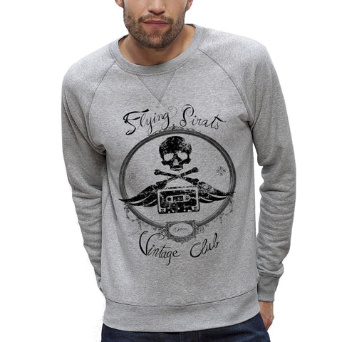 Sweat-shirt Imprimé Bio Homme / Organic Graphic Sweater Men - Flying Pirats Vintage - ArteCita Positive Lifestyle Mode Bio et Objets de déco