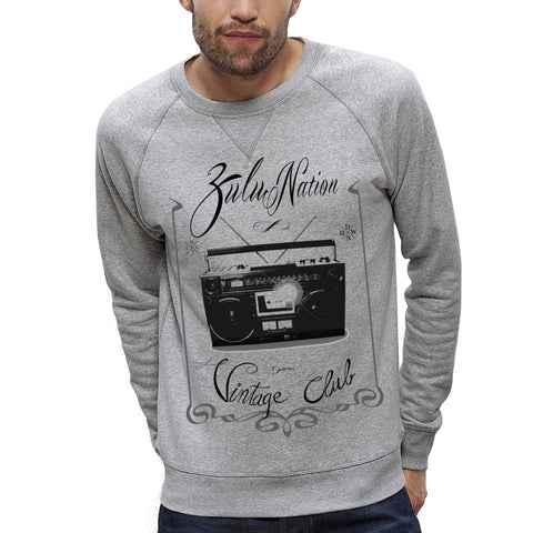 Sweat-shirt Imprimé Bio Homme / Organic Graphic Sweater Men - Ghetto Blaster Vintage - ArteCita Positive Lifestyle Mode Bio et Objets de déco