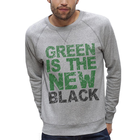 Sweat-shirt Imprimé Bio Homme / Organic Graphic Sweater Men - Green is the new black - ArteCita Positive Lifestyle Mode Bio et Objets de déco