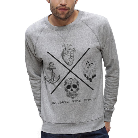 Sweat-shirt Imprimé Bio Homme / Organic Graphic Sweater Men - Love Dream Travel Eternity - ArteCita Positive Lifestyle Mode Bio et Objets de déco