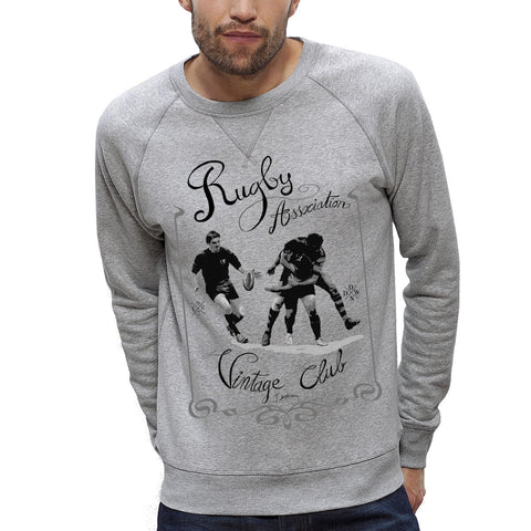 Sweat-shirt Imprimé Bio Homme / Organic Graphic Sweater Men - Rugby Vintage - ArteCita Positive Lifestyle Mode Bio et Objets de déco