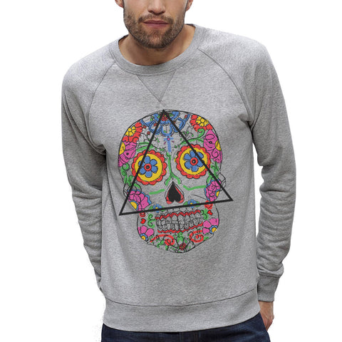 Sweat-shirt Imprimé Bio Homme / Organic Graphic Sweater Men - Santa Muerte - ArteCita Positive Lifestyle Mode Bio et Objets de déco