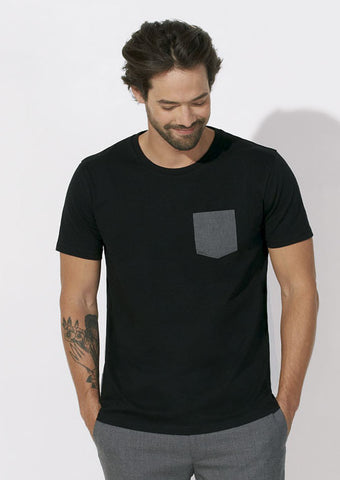 T-shirt Bio à Poche contrastée Homme / Organic Tee with Contrast pocket Men - Black / Grey - ArteCita Positive Lifestyle Mode Bio et Objets de déco