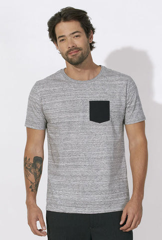T-shirt Bio à Poche contrastée Homme / Organic Tee with Contrast pocket Men - Grey / Black - ArteCita Positive Lifestyle Mode Bio et Objets de déco