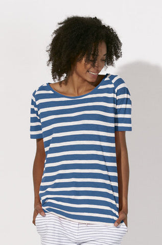 T-shirt Bio Rayé en Maille Femme / Organic Striped Knit Tee Women - Royal blue - ArteCita Positive Lifestyle Mode Bio et Objets de déco