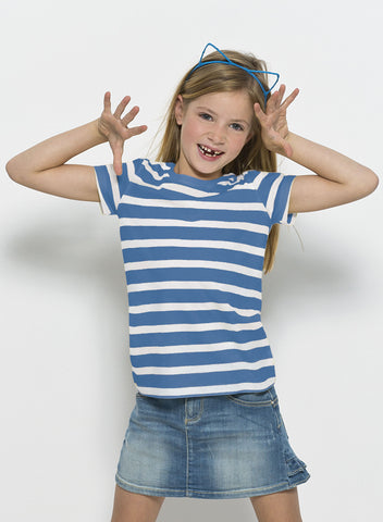 T-shirt Bio Rayé Filles / Striped Organic Tee Girls - Mini Lines Royal Blue - ArteCita Positive Lifestyle Mode Bio et Objets de déco