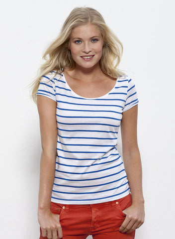 T-shirt Bio Rayé Manches courtes Femme / Organic Striped Tee Short sleeves Women - Blue - ArteCita Positive Lifestyle Mode Bio et Objets de déco