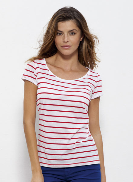 T-shirt Bio Rayé Manches courtes Femme / Organic Striped Tee Short sleeves Women - Red - ArteCita Positive Lifestyle Mode Bio et Objets de déco
