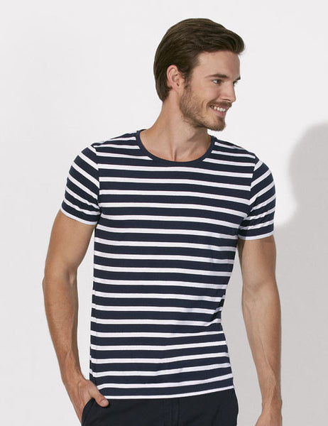 T-shirt Bio Rayé Manches courtes Homme / Organic Striped Tee Short sleeves Men - Navy - ArteCita Positive Lifestyle Mode Bio et Objets de déco
