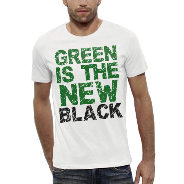 T-shirt Imprimé Bio Blanc Homme / Organic Graphic Tee White Men - Green is the new black - ArteCita Positive Lifestyle Mode Bio et Objets de déco