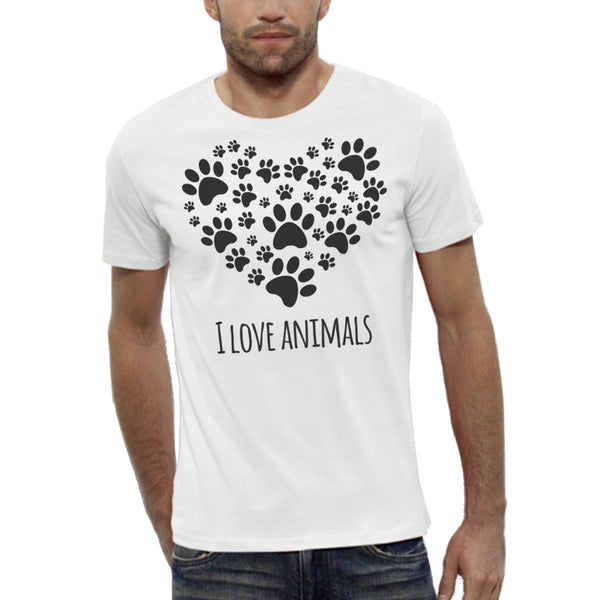T-shirt Imprimé Bio Blanc Homme / Organic Graphic Tee White Men - I love animals - ArteCita Positive Lifestyle Mode Bio et Objets de déco