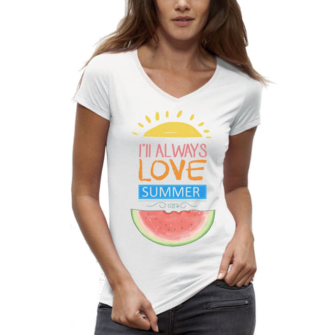 T-shirt imprimé Bio Col V Femme / V-neck Organic Graphic Tee-shirt - I'll always love summer - ArteCita Positive Lifestyle Mode Bio et Objets de déco