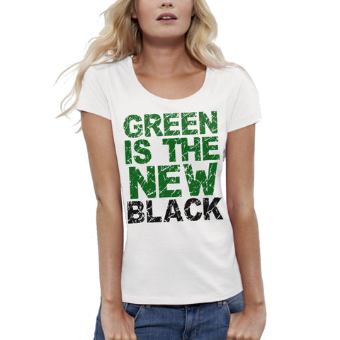 T-shirt imprimé Bio Femme / Women Organic Graphic Tee - Green is the new black - ArteCita Positive Lifestyle Mode Bio et Objets de déco