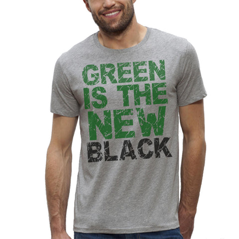 T-shirt Imprimé Bio Gris Homme / Organic Graphic Tee Grey Men - Green is the new black - ArteCita Positive Lifestyle Mode Bio et Objets de déco