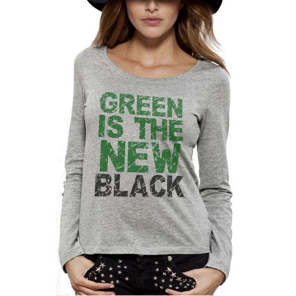 T-shirt Imprimé Bio Gris ML / Grey Organic Graphic Tee LS - Green is the new black - ArteCita Positive Lifestyle Mode Bio et Objets de déco
